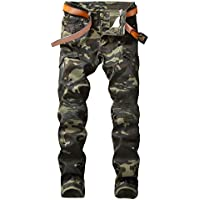 Plaid&Plain Men's Camo Stretch Skinny Jeans Slim Tapered Biker Jeans