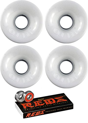 タイルサーバントとは異なりOJ Wheels 60 mmホットジュースLongboard Skateboard Wheels with Bones Bearings – 8 mm Bones Reds Precisionスケート定格スケートボードベアリング – 2アイテムのバンドル