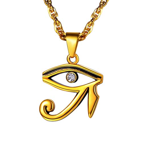 PROSTEEL Eye of Horus Necklace 18K Gold Plated Egyptian Symbolism Symbolic Women Men Jewelry Eye of Ra African Jewelry Amulet Protection Allah Necklace Gift