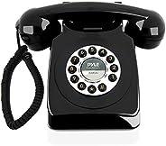Teléfono fijo con cable de diseño retro – Clásico vintage antiguo estilo de esfera rotativa mesa de escritorio