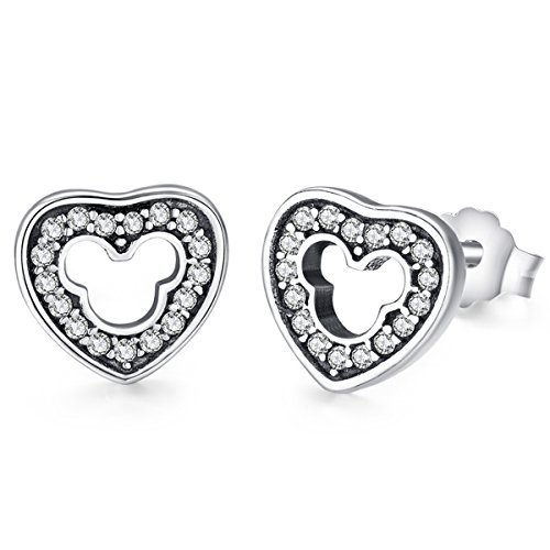 Twenty Plus Mickey Silhouette Stud Earrings With CZ for Women and Girls Fashion Jewelry 1-Pair