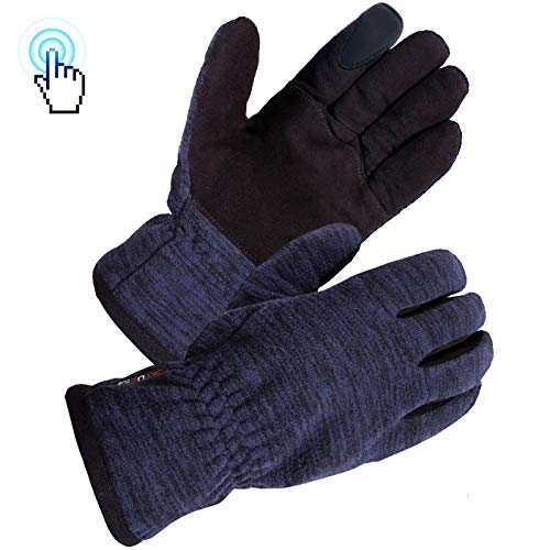 (SKYDEER Winter Touch Screen Gloves with Soft Premium Genuine Deerskin Suede Leather and Warm Windproof Polar Fleece (SD8666T/S))
