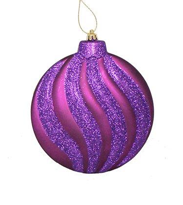 6ct Matte Purple Glitter Swirl Shatterproof Christmas Disc Ornaments 6.25