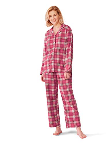 Flannel Loungewear - SIORO Womens Flannel Pajamas Set 100% Cotton Pj Sets Sleepwear Loungewear, Fuchsia and White Plaid, M