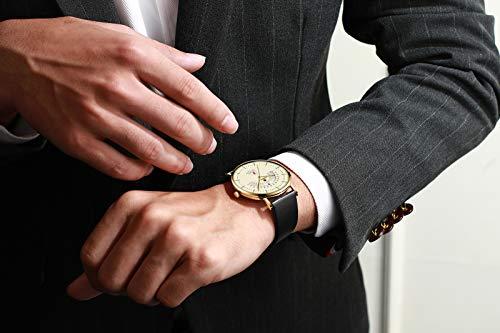 N·XHXL mode kvartsklockor, män affärer militär vattentät sport armbandsur äkta läderband, visningsdatum, fantastiska gåvor för honom