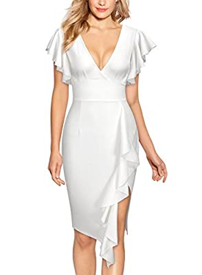 Knitee Women's Deep-V Neck Ruffle Sleeves Cocktail Party Pencil Dress