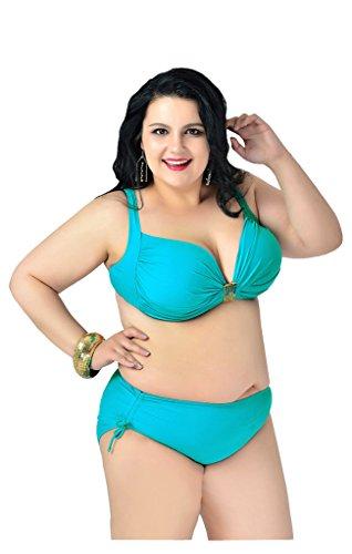 UDreamTime Mujeres 2 piezas Talla extra Taza llena Trajes de baño Conjunto de bikini LakeVerde