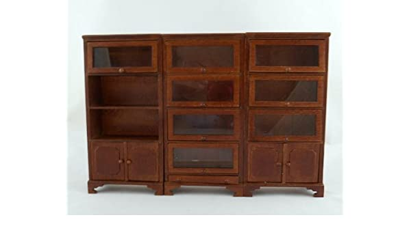 Dolls House Traditional 3 Pc Walnut Lawyers Bookcase Miniature Study Furniture