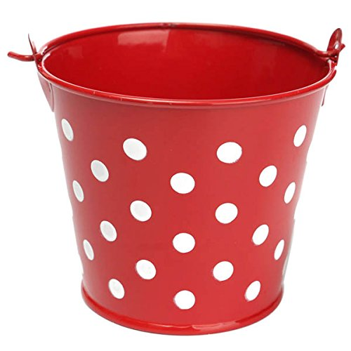 Bluelover Mini Polka Dot Iron Sheet Flower Pot Flower Potted Plant Flowerpot Garden Decoration -green