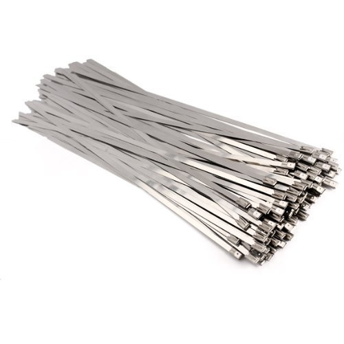 Vktech 100pcs Stainless Steel Exhaust Wrap Coated Locking Cable Zip Ties (11.8 Inch) by Vktech