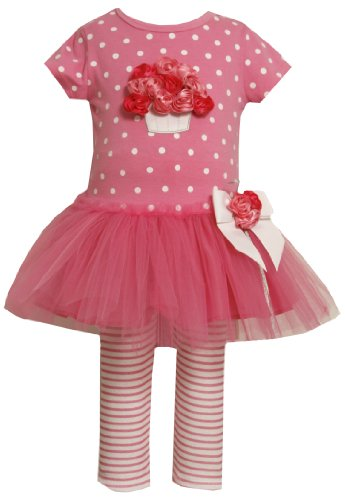 Bonnie Jean Little Girls' Cluster of Roses on Bodice to Tulle Skirt and Knit Capri