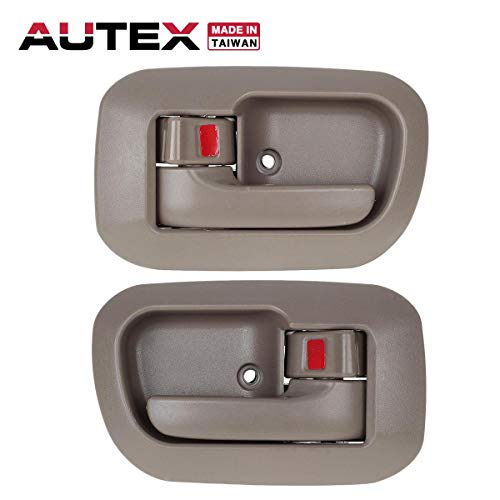 AUTEX 2pcs Interior Door Handles Front Left Right Driver Passenger Side compatible with 1998 1999 2000 2001 2002 2003 Toyota Sienna Door Handles Light Brown 80533 6927808010E0 80504 - Driver Sienna