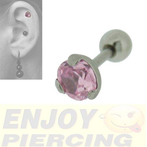 Piercing Lobe Cartilage Acier Chirurgical Cristal Rose Griffé Trois Griffes