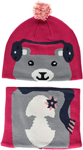 Columbia Kids Snow More Beanie and Gaiter Set para niños pequeños, Cactus Pink Bear, Talla única