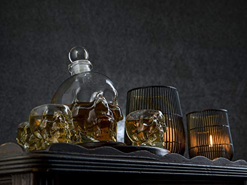 Large Skull Face Decanter with 4 Skull Shot Glasses and Beautiful Wooden Base - By The Wine Savant Use Skull Head Cup For A Whiskey, Scotch and Vodka Shot Glass, 25 Ounce Decanter 3 Ounces Shot Glass by The Wine Savant (Image #3)