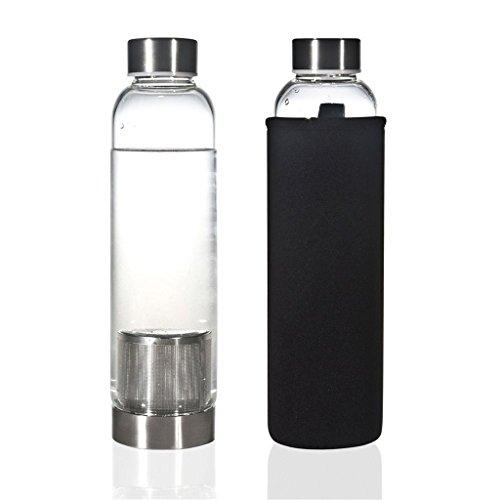 HMILYDYK, transparentes Glas-Becher, auslaufsicher, mit Nylon-Hülle, Grau 550ml tea infuser