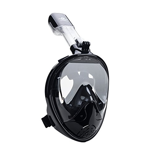 oramic View Free Breathing Full Face Snorkeling Masks with Detachable Action Camera Moun, Dry Top Set Anti-Fog Anti-Leak Diving Mask for Adults & Kids ()