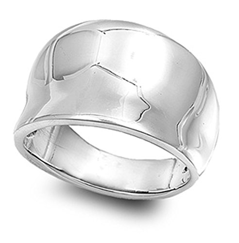 Sterling Silver Women's Concave Fashion Ring Cute Pure 925 Band 15mm Size 9