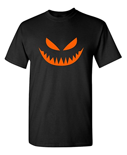 (Mean Pumpkin Emoticon Smile Face Graphic Costume Funny Halloween T-Shirt L)