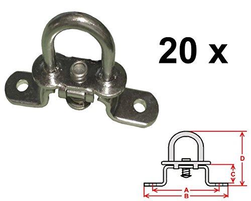 verzinkt Drehverschluss f/ür Oval/ösen 42x22mm FKAnh/ängerteile 20 St/ück