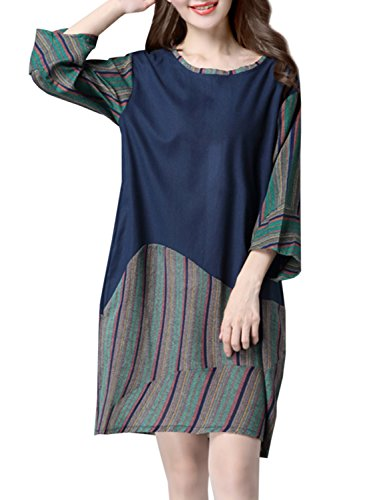 ACHICGIRL Women's Casual Round Neck 3/4 Sleeve Stripe Linen Dress Army Green