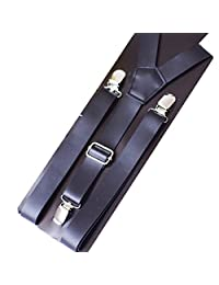 Panegy Men Women Unisex Solid Color Y-Back Clip Suspender Braces-Black