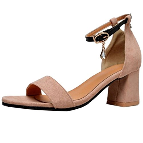 SJJH Sandals with Open Toe and Chunky Heel Comfortable Sandals for All Fashion Women Pink iMH3Ci