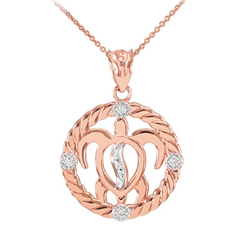 Collier Femme Pendentif 14 Ct Or Rose Côtelé Cercle Diamant-Accentué Hawaiienne Honu Turtle (Livré avec une 45cm Chaîne)