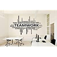 Office Wall Vinyl Art Decor - Teamwork Decals Motivational Inspirational Quotes Sayings - Team Work Stickers Decoration Postive Words Letterings OF-005