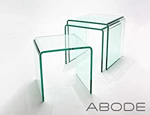 SET OF BENT CLEAR GLASS NESTING TABLES X X Cm Mm - Clear nesting tables