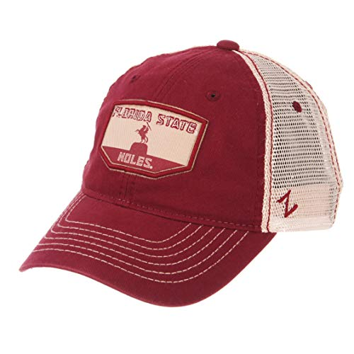 Zephyr NCAA Florida State Seminoles Men's Trademark Relaxed Cap, Adjustable, Washed Team/White