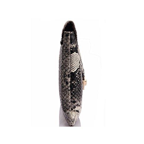 with Chain in Drop Pattern Handbag Bag Envelope Leather Clutch Shoulder Women Snakeskin YAOSEN 7qwfP4z