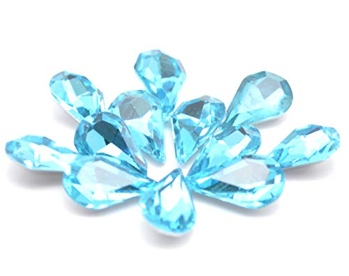 Catotrem Crystal Clear Teardrop Loose Rhinestones Silver Plated Rhinestones Glass Decor Crafts 6x10mm(60pcs-River Blue) ()