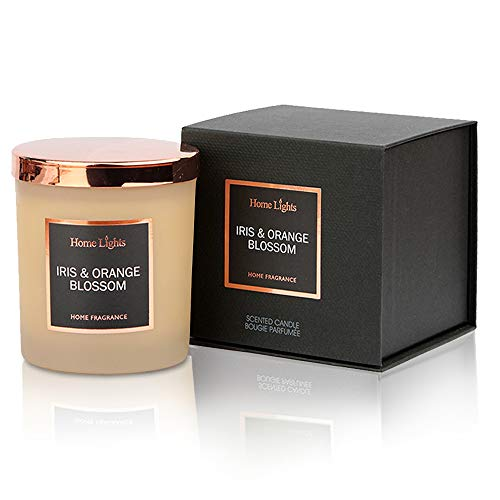 Home Lights Luxury Scented Candle, 7.19 oz, Natural Soy Wax, Home Fragrance Decor Gift, Iris Orange Blossom, Medium Jar
