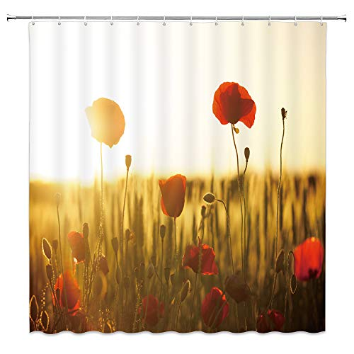 dachengxing Poppy Flower Shower Curtain Twilight Nature Decor Poppy Floral Bloom Buds Under Sunlights Blur Background Waterproof Brown Red Fabric Bathroom Hooks Included 70x70 Inch