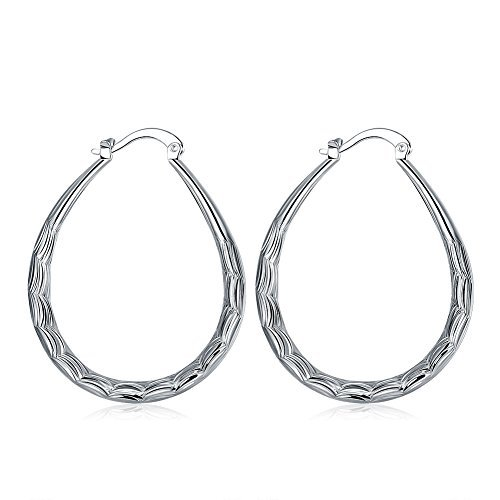 KUYIUIF 925 Sterling Silver Fashion Classic Fish Scales Hoop Drop Dangle Earring