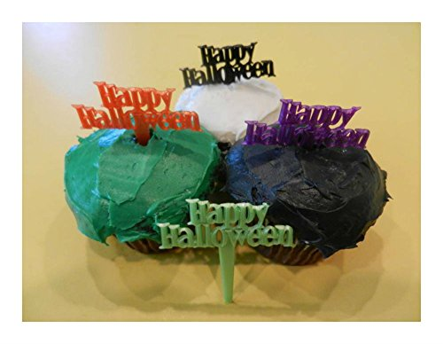 [12 Happy Halloween Cupcake Toppers Picks Cake Pop Candy Decorations Best Selling Prod Halloween] (Face Pirate Makeup)