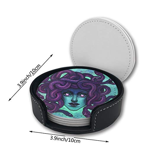 Medusa Halloween Purple Sexy Car Coasters Set Mats Pu Leather Placemats Pattern Decor Ornament Decorations Home Printed Gift Beer Cupholder Table Cocktail 6 Circle Oni Decor -