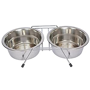 Iconic Pet 12-Cup Stainless Steel Double Diner with Wire Stand for Dog or Cat 111