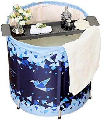バスバレル家庭用厚めの大人用浴槽家庭用折りたたみ式浴槽大人用体浴槽厚い内湯折りたたみ収納 浴室用設備 (Color : Blue, Size : 80*70cm)