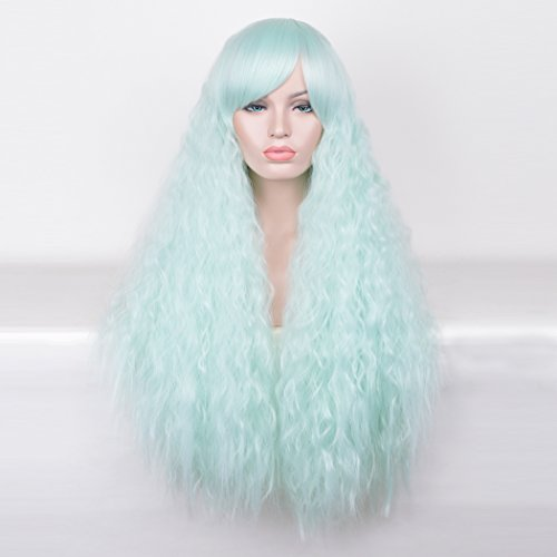 Best Fancy Dress Costumes Homemade (SiYi Long Deep Curly Wavy Wig Afro Kinky Curly Synthetic Heat Resistant Hair Wigs Full Mint Green Costume Wigs for Women Girls)