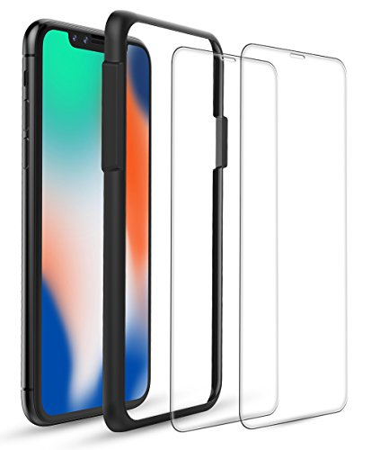 iPhone X Screen Protectors, Highwings [2-Pack] 0.25mm Ultra Clear Tempered Glass 3D Touch Film Screen Protectors with Easy Installation Guide Frame for iPhone X Case