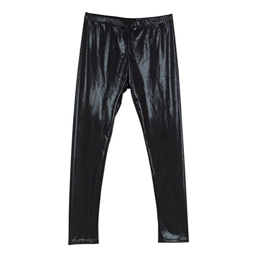 Cris Ti Na Girl's Shiny Metallic Dance Leggings Pants Black 5-6 - Cris Black