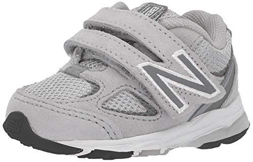 New Balance Boys' 888v2 Hook and Loop Running Shoe, Grey/Grey, 8 W US Toddler