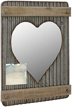 Stonebriar Corrugated Metal Wood Heart Shaped Mirror with Attached Wall Hanger and Clip Industrial Wall Decor Distressed Finish
