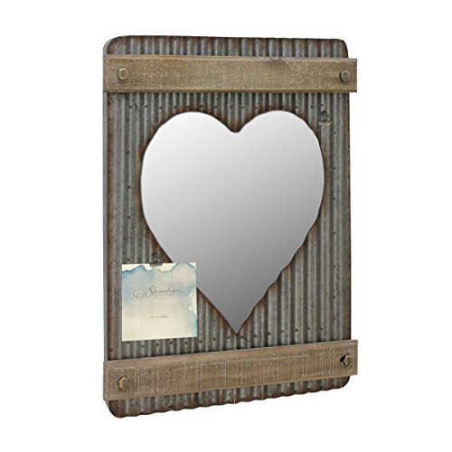 Stonebriar Corrugated Metal & Wood Heart Shaped Mirror with Attached Wall Hanger and Clip ; Industrial Wall Decor ; Distressed Finish (Metal Mirror Art)