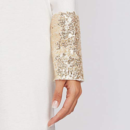 PASATO Fashion Womens Round Neck Dress Sequined Pocket Casual Loose T-Shirt Dress(White,XL=US:L) by PASATO Dress (Image #5)