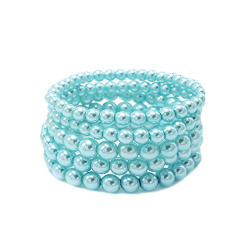 (T-Doreen 5 Row Light Blue Pearl Bracelet Set for Women Girl Beaded Stretch Strand Bracelet)