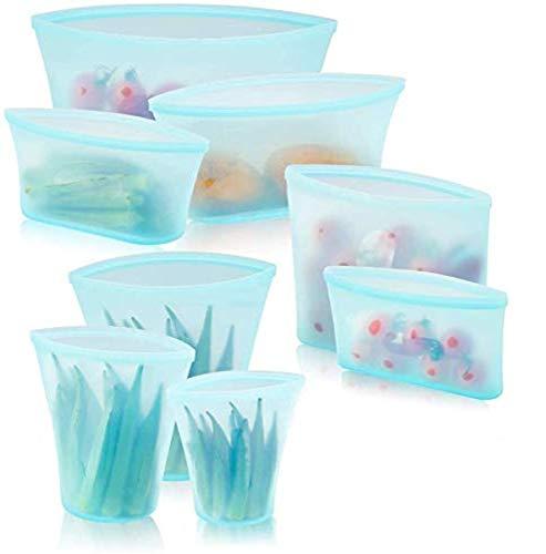 WeTest Upgrade 8 Pack Reusable Silicone Food Storage Bag, Preservation Bag for Fruits Vegetables Snacks Liquid, Blue