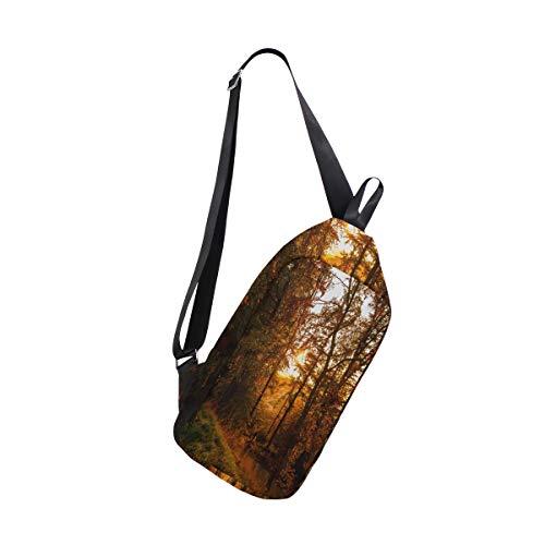 (Sling Bag Autumn Maple Womens Chest Shoulder Backpacks Crossbody Tactical Daypack)